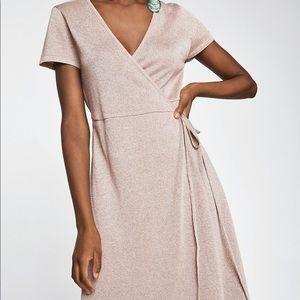 Zara NEW w/tag blush gold midi wrap dress size S